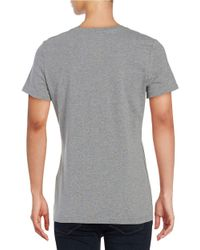 Lord & Taylor - Metallic Cotton-stretch V-neck Tee - Lyst