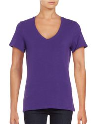 Lord & Taylor | Purple Cotton-stretch V-neck Tee | Lyst