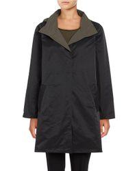 Eileen Fisher   Black Petite Reversible Hooded Coat   Lyst