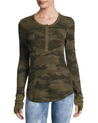 Splendid | Green Knit Camouflage Shirt | Lyst