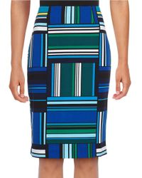 Nipon Boutique | Blue Blocks And Stripes Pencil Skirt | Lyst