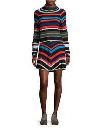 Free People | Black Striped Cowlneck Sweater And Skirt Set | Lyst