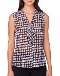 Tahari | Black Chiffon Houndstooth Print V-neck With Tie Sleeveless Top | Lyst