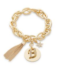 R.j. Graziano | Metallic B Initial Chain-link Charm Bracelet | Lyst