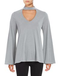 Lord & Taylor | Gray V-neck Long Sleeve Top | Lyst