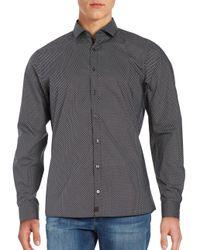 Strellson - Black Subtle Striped Cotton Sportshirt for Men - Lyst