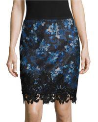 T Tahari | Blue Floral-print Pencil Skirt | Lyst