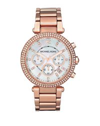 Michael Kors | Pink Parker Pavé Mother-of-pearl & Rose Goldtone Stainless Steel Chronograph Bracelet Watch | Lyst