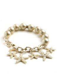 ABS By Allen Schwartz | Metallic Beaded Charm Bracelet | Lyst