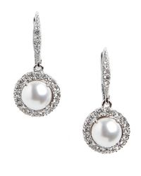 Nadri | Metallic Pave Faux Pearl Earrings | Lyst