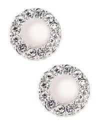 Nadri   Metallic Sparkling Faux Pearl Stud Earrings   Lyst