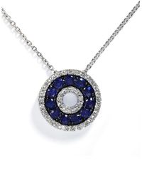 Effy | Blue Royale Bleu 14k White Gold Sapphire And Diamond Pendant | Lyst