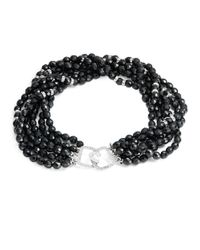 Kenneth Jay Lane | Black 6-row Jet Beaded Crystal Necklace | Lyst