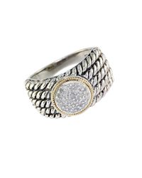 Effy - Metallic Balissima Sterling Silver With 18kt. Yellow Gold Pave Circle Diamond Ring - Lyst