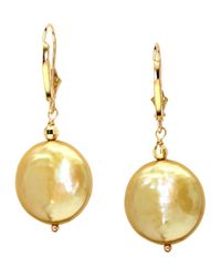 Effy | Metallic 14kt. Yellow Gold Freshwater Pearl Coin Earrings | Lyst