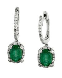 Effy - Green Brasilica Emerald, Diamond And 14k White Gold Drop Earrings - Lyst