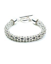 Anne Klein - Metallic Silvertone Crystallized Tubular Bracelet - Lyst