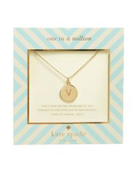 kate spade new york | Metallic One In A Million Initial Pendant Necklace - V | Lyst