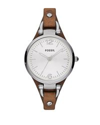 Fossil | Metallic Ladies Georgia Stainless Steel And Leather Watch | Lyst