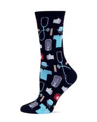 Hot Sox - Black Medical Print Crew Socks - Lyst