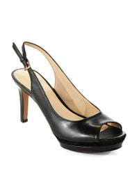 Nine West | Natural Able Leather Slingback Heels | Lyst