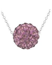 Lord & Taylor   Purple Lavender Sterling Silver And Crystal Ball Pendant Necklace   Lyst