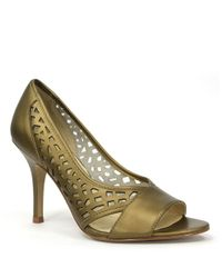 Tahari | Metallic Liquorice Leather Pumps | Lyst