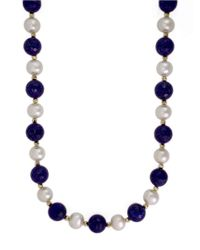 Effy | Blue 14k Yellow Gold Pearl And Lapis Necklace | Lyst