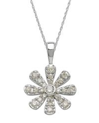 Lord & Taylor | 14kt. White Gold And Diamond Flower Pendant Necklace | Lyst