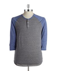 Alternative Apparel | Gray Colorblock Henley Tee for Men | Lyst