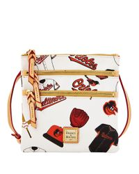 Dooney & Bourke White Baltimore Orioles Coated Cotton Triple Zip Crossbody Bag