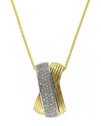 Effy - Metallic 14k Yellow And White Gold Diamond Pendant Necklace - Lyst