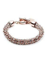 Anne Klein | Metallic Rose Goldtone And Crystal Bracelet | Lyst