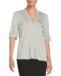 Calvin Klein - Gray Zip-accented Knit Top - Lyst