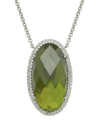 Lord & Taylor - Green Sterling Silver Vesuvianite And Diamond Necklace - Lyst