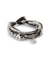 Uno De 50 | Metallic Leather And Bead Charm Bracelet | Lyst
