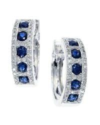 Effy - Multicolor Royale Bleu Sapphire, Diamond And 14k White Gold Hoop Earrings - Lyst