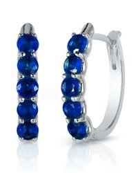 Effy | Blue Royale Bleu Sapphire And 14k White Gold Hoop Earrings | Lyst