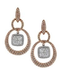 Effy | Metallic Diamond, 14k Rose And White Gold Drop Earrings | Lyst