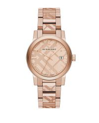 Burberry | Metallic Check Stamped Stainless Steel Watch | Lyst