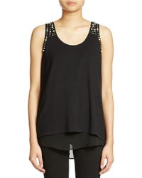 Philosophy By Republic | Black Faux Pearl Trim Tank | Lyst