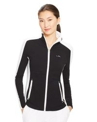 Lauren by Ralph Lauren | Black Color Blocked Full Zip Jacket | Lyst