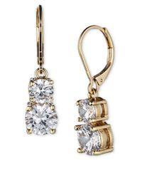 Anne Klein | Metallic Gold-tone Pave Crystal Drop Earrings | Lyst