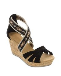 Minnetonka | Black Drew Suede And Elastic Wedge Sandals | Lyst