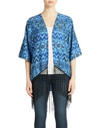 Lord & Taylor | Blue Open Front Fringed Kimono | Lyst