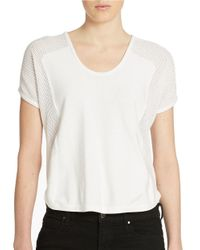 DKNY | White Open Knit Detail Top | Lyst