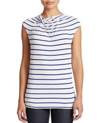 Lord & Taylor | White Plus Striped Twist-neck Top | Lyst