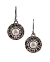 Lucky Brand - Metallic Freshwater Pearl Medallion Earrings - Lyst