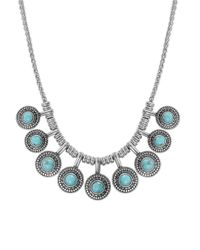 Lucky Brand - Blue Silver-tone Reconstituted Turquoise Collar Necklace - Lyst