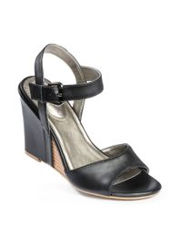 Me Too | Black Lucie Leather Wedges | Lyst